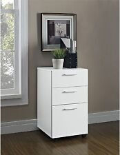 File Cabinet Drawer White Mobile Contemporary Wood Home Office Furniture New