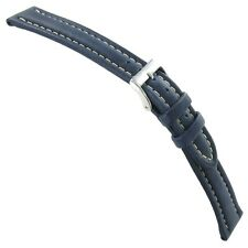 20mm Morellato Genuine Calfskin Leather Padded Stitched Dk Blue Watch Band 1273