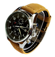 SUPERB Aviator Pilots 43mm CHRONOGRAPH Military Army Vintage Style Quartz Watch