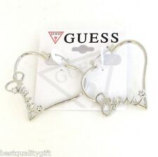 "NEW CURSIVE ""GUESS"" SILVER TONE+CRYSTAL HEART HOOP SNAP FASTENER EARRINGS"