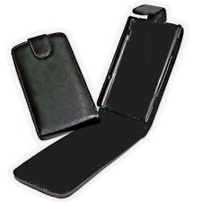 Vertical Flip style móvil cartera, funda protectora, funda en negro para HTC Wildfire S