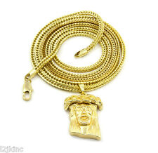 """Jesus Charm Micro Pendant Franco Chain Necklace Jewelry Gold Plated Plain 36"""""""