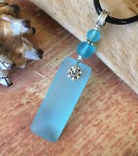 "Bright Aqua Blue Sea Glass Necklace Glow 18"" Waxed Cord HandMade Frosty"