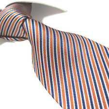 XL 100% Silk Woven Jacquard Tie, Orange/Blue Stripe Necktie SW4217 Extra Long