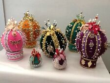 5 LARGE GORGEOUS Vintage Sequins Beaded Handmade Christmas Ornaments