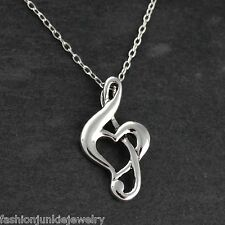 Treble Clef Heart Necklace - 925 Sterling Silver - Pendant Music Musician NEW