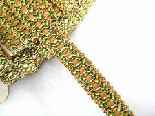 Gold & green chair braid  Fabric gimp trimming for upholstery & craft PER METRE