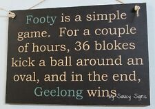 Simple Game Geelong Cats Fan Footy Sign Bar Pub Man Cave Jersey Football Card