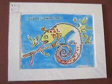 """1 CENT ART! """"Angry Chameleon"""" Original watercolor print Whimsical Collection"""