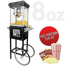 FunTime 8oz Black Popcorn Popper Machine Maker Cart + Starter Pack FT862CB
