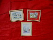 DOLLS' HOUSE PAINTINGS - 3 X SIGNED LORAINE BROWN WATERCOLOURS ON IVORINE