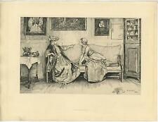 ANTIQUE VICTORIAN TEAPOT TEA WOMAN AMAND DURAND EDWIN ABBEY ETCHING OLD PRINT