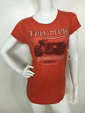 Lucky Brand Women's Orange Triumph Motorcycle Short Sleeve Tee T-Shirt Top M NWT