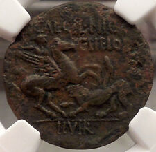 CORINTH, 34 B.C. Goddess APHRODITE / Hero BELLEROPHON slays CHIMERA. NGC XF Rare