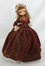 "Bradley Artmark Korea BIG EYE Doll Victorian Tutor Brown Dress Mob Cap 15"" Tall"