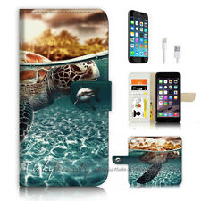 iPhone 6 6S Plus (5.5') Flip Wallet Case Cover P3247 Turtle