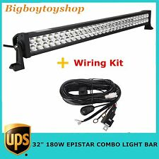 KIT 32in 180W LED Light Bar Spot Flood Combo Jeep Off-road Driving Lamp 4WD SUV