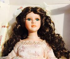 """DanDee Collectors Choice Porcelain Doll 17"""" Curly Hair Green Eyes w/coa Stand"""