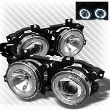 For 89-95 BMW E34 E32 5/7 Series Twin Halo Projector Headlights Pair Lamp Set