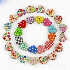 100 Botones de Madera Forma Corazón Flor con 2 Ojales Manualidades buttons