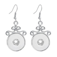 18MM Fashion silver color Drill Earrings Fit For Noosa Charm Snap Button