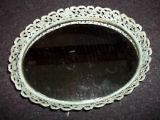 vintage Mirror makeup tray antique metal oval shape approx 9 in lx 6 1/2 inch wi