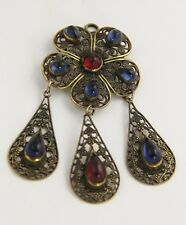 ANTIQUE Jewelry AUSTRO HUNGARIAN FILIGREE DANGLE PENDANT GLASS CABOCHON BROOCH