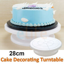 """Cake Decorating Turntable Rotating Revolving Icing Plastic Stand 28cm 11"""""""