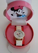 Disney®Minnie Mouse TwoTone Clear Crystal White Silicone Band Watch MINAQ352 NIB