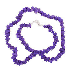 "PURPLE HOWLITE 18"" CHIP NECKLACE W/ SS CLASP AA++"