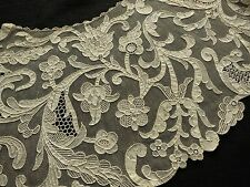 ELABORATE Antique c1880 Handmade BURANO LACE Antique BERTHA Collar GORGEOUS
