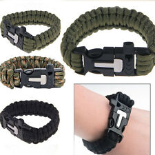 Outdoor Camping Survival Bracelet Scraper Whistle Flint Fire Starter Gear Kits