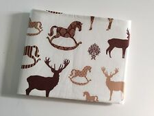 100% cotton Beige Christmas Stag Reindeer Rocking Horse Festive Fabric Material