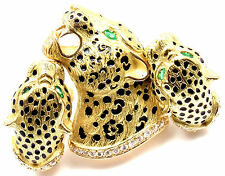 Authentic Gay Freres Leopard 18k Yellow Gold Diamond Emerald Brooch Earrings Set