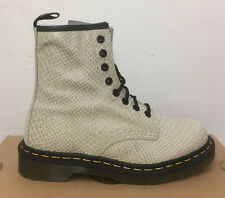 DR. MARTENS 1460  OFF WHITE HI SHINE SNAKE   LEATHER  BOOTS SIZE UK 7