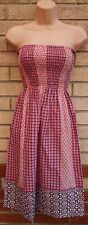 PRIMARK RED WHITE BAROQUE PAISLEY RUCHED BANDEAU A LINE SMOCK TEA DRESS 6 XS