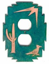 "COPPERCUTTS Roadrunner Cactus Outlet Cover 4.25"" x 6"" Rustic SouthWest Copper"