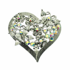 Crystal Heart Pin Brooch with  Aurora Borealis Crystal Butterflies Vintage Style