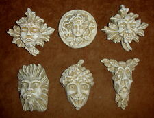 Vintage Set of 6 Gothic Medieval Greenman Gargoyle Mythical Wall Plaque