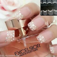 3D White LACE Transparent Nail Art Rhinestone Sticker Dot #06TZ157 FreeP&P