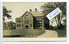 Middleboro MA Mass RPPC real photo students outside high school, early