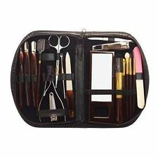 18pc Ladies Manicure Pedicure Set Nail Eyebrow Powder Brush Leather Carry Case