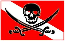 "3.25"" PIRATE / SKULL SCUBA FLAG Sticker / Decal. Dive diver diving fins tank"