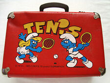 Vintage The Smurfs Wooden Suitcase School bag Peyo 1989 I.M.P.S. (Brussels)
