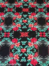 1.8M - Polyester Elastane Grid Red Floral Print Jersey Stretch Sew Fabric [549]