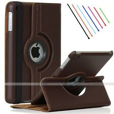 Brown 360 Rotating Leather Smart Case Cover Stand for Apple iPad Air 2 6th