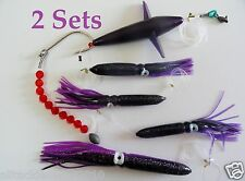 2 Sets Daisy Chain Bait Rig Bird Tuna Marlin Fishing Trolling Lures Souid-Purple