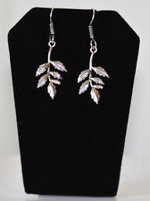 Silver Metal Leafy Branch Hook Dangle Earrings Fashion Jewelry from India