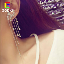 Meteor Shower Star Galaxy Tassel Cubic Zirconia Long Chain Drop Stud Earrings