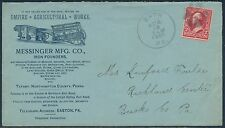 "2¢ BUREAU ON BLUE ADVT COVER MESSINGER MFG Co EMPIRE ""AGRICULTURE WORKS"" BS739"